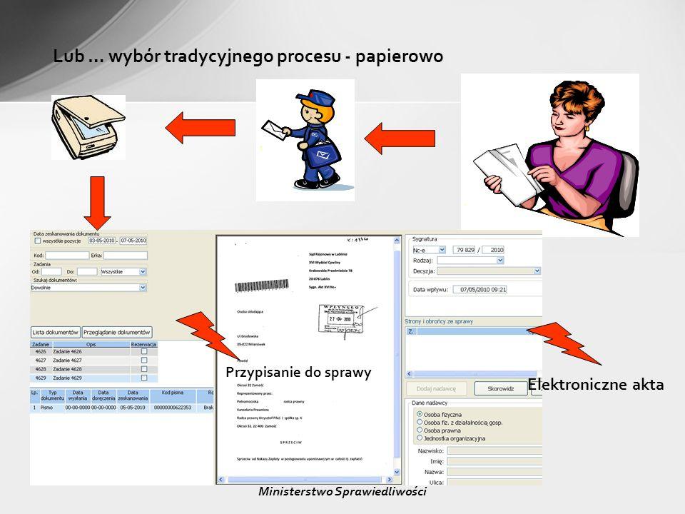 Lub … wybór tradycyjnego procesu - papierowo Przypisanie do sprawy Elektroniczne akta Ministerstwo Sprawiedliwości