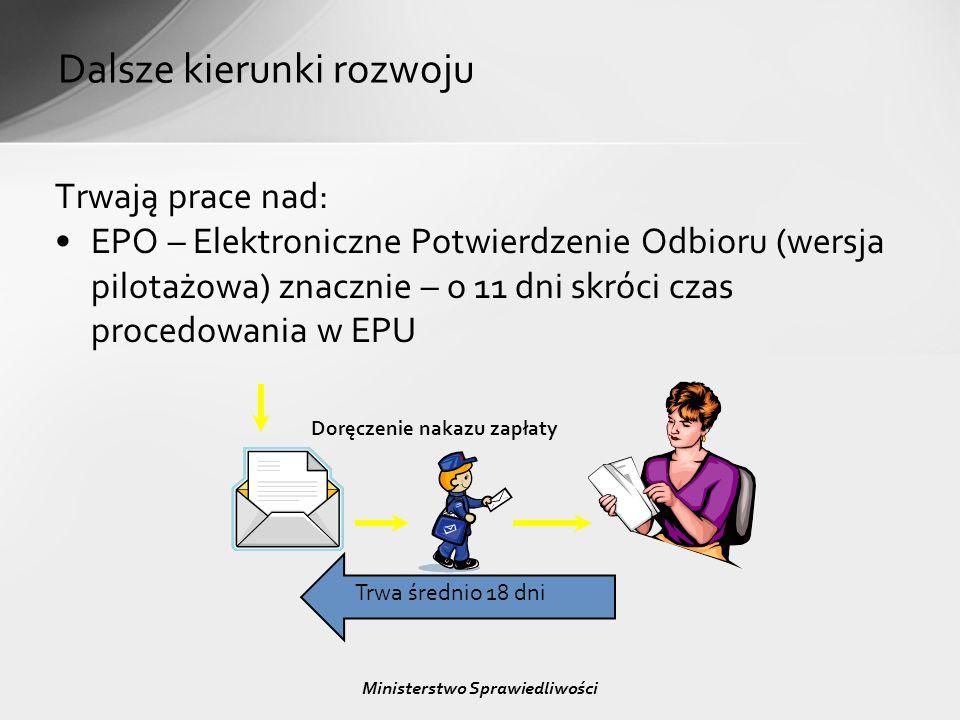Dalsze kierunki rozwoju Trwają prace nad: EPO – Elektroniczne Potwierdzenie Odbioru (wersja pilotażowa) znacznie – o 11 dni skróci czas procedowania w