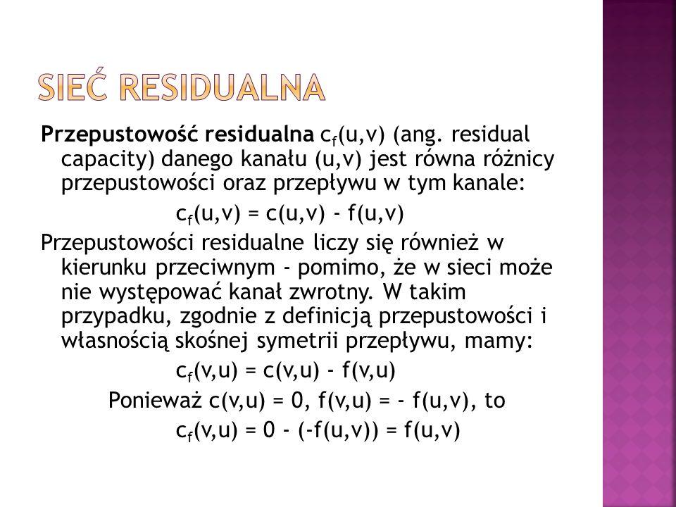 Przepustowość residualna c f (u,v) (ang.
