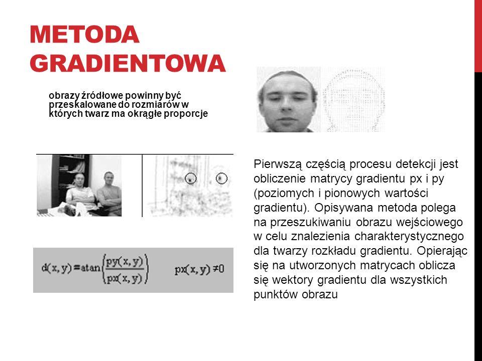 METODA GRADIENTOWA obrazy źródłowe powinny być przeskalowane do rozmiarów w których twarz ma okrągłe proporcje Pierwszą częścią procesu detekcji jest