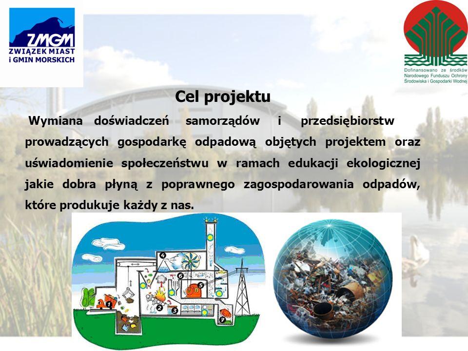 Cel projektu Wymianadoświadczeń samorządów i przedsiębiorstw prowadzących gospodarkę odpadową objętych projektem oraz uświadomienie społeczeństwu w ramach edukacji ekologicznej jakie dobra płyną z poprawnego zagospodarowania odpadów, które produkuje każdy z nas.