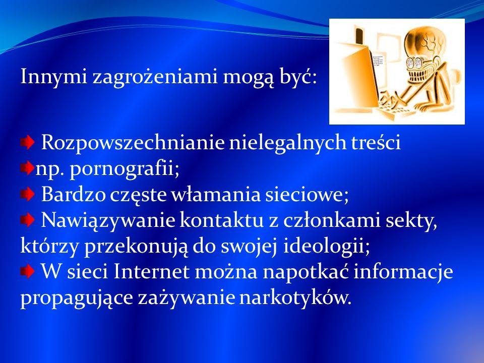 Innymi zagrożeniami mogą być: Rozpowszechnianie nielegalnych treści np. pornografii; Bardzo częste włamania sieciowe; Nawiązywanie kontaktu z członkam