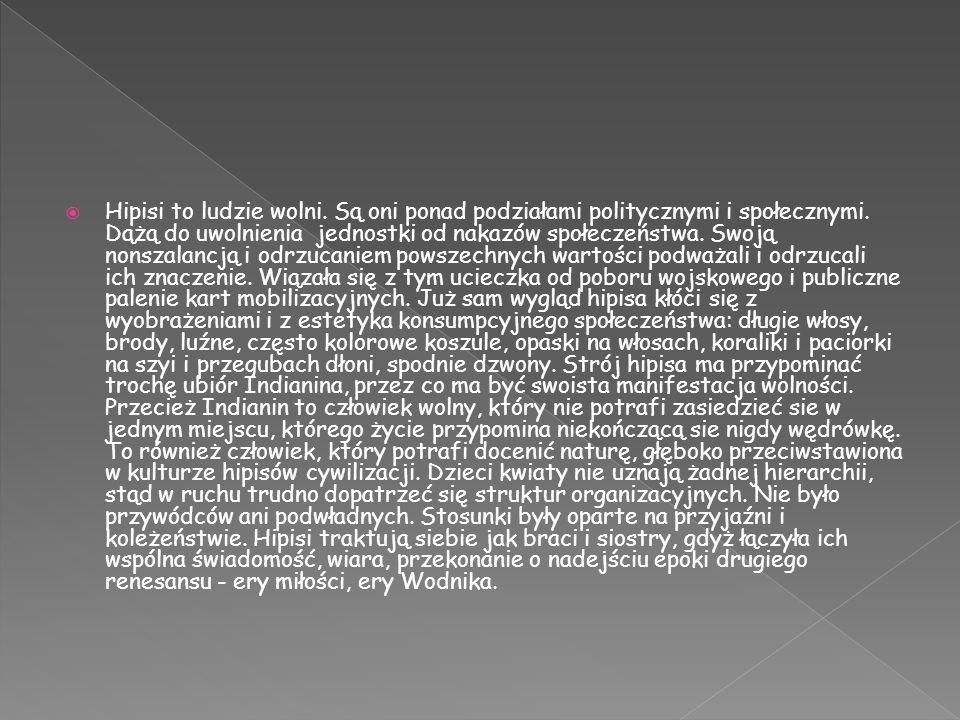 Hipisi to ludzie wolni.Są oni ponad podziałami politycznymi i społecznymi.