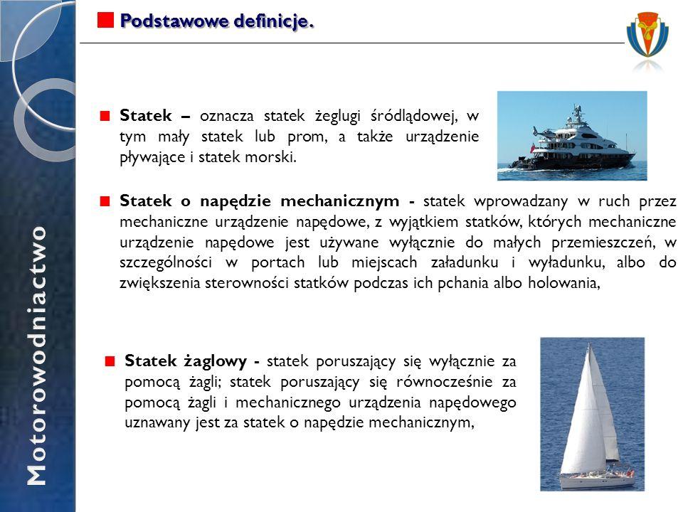 Podstawowe definicje. Statek – oznacza statek żeglugi śródlądowej, w tym mały statek lub prom, a także urządzenie pływające i statek morski. Statek o