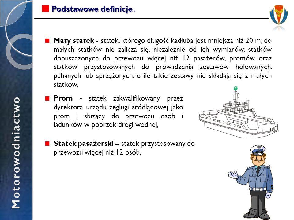 Podstawowe definicje. Maty statek - statek, którego długość kadłuba jest mniejsza niż 20 m; do małych statków nie zalicza się, niezależnie od ich wymi