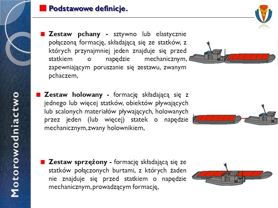Zestaw holowany - formację składającą się z jednego lub więcej statków, obiektów pływających lub scalonych materiałów pływających, holowanych przez je