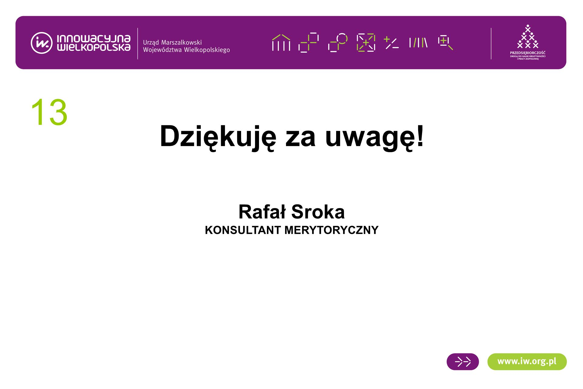 13 Dziękuję za uwagę! Rafał Sroka KONSULTANT MERYTORYCZNY