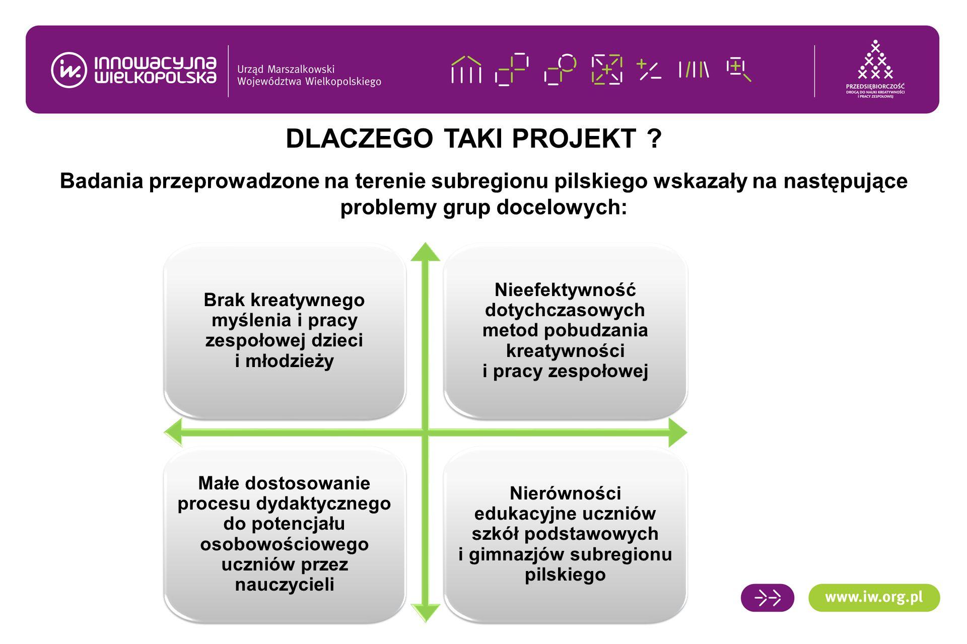 Badania przeprowadzone na terenie subregionu pilskiego wskazały na następujące problemy grup docelowych: DLACZEGO TAKI PROJEKT ? Brak kreatywnego myśl