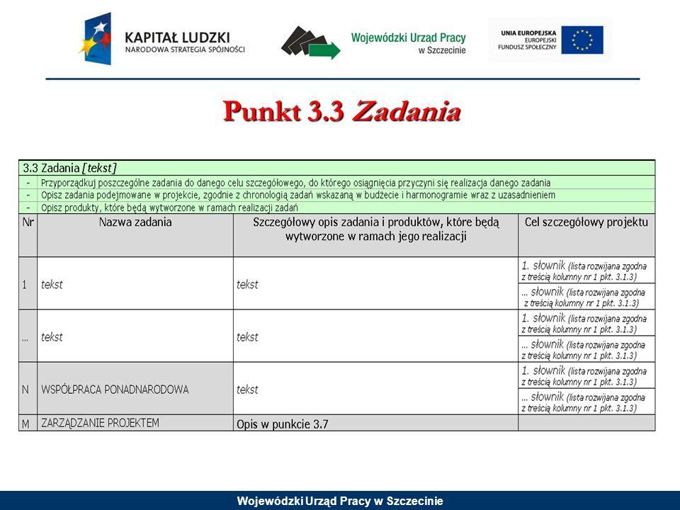 Wojewódzki Urząd Pracy w Szczecinie Punkt 3.3 Zadania