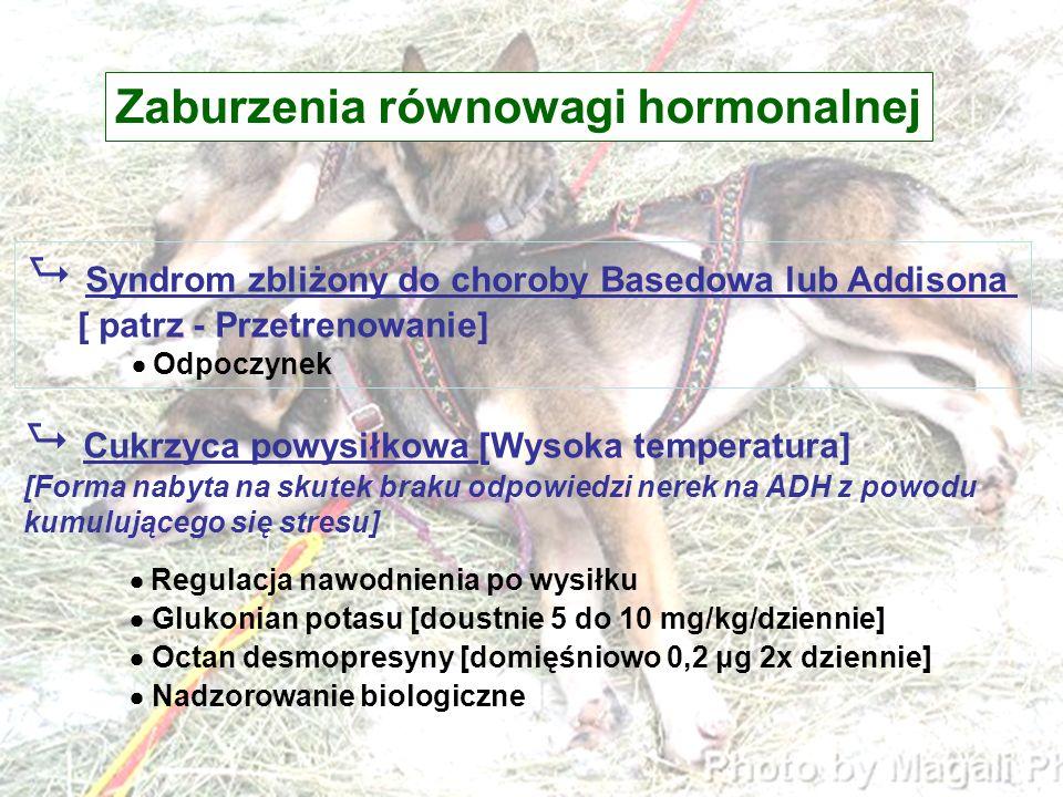 Zaburzenia równowagi hormonalnej Syndrom zbliżony do choroby Basedowa lub Addisona [ patrz - Przetrenowanie] Odpoczynek Cukrzyca powysiłkowa [Wysoka t