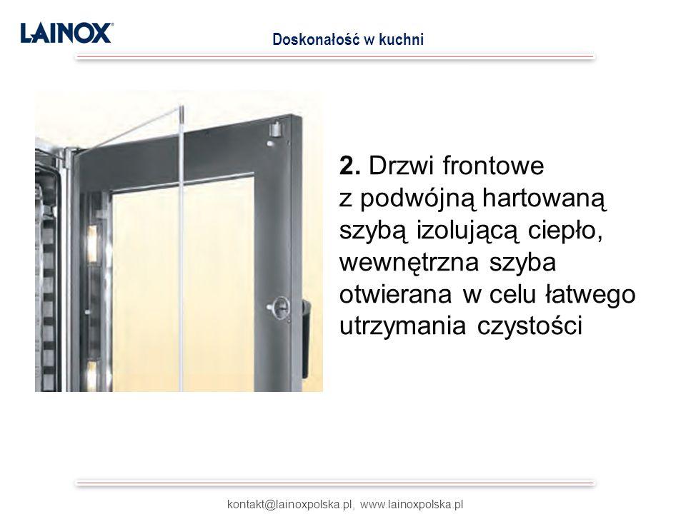 2. Drzwi frontowe z podwójną hartowaną szybą izolującą ciepło, wewnętrzna szyba otwierana w celu łatwego utrzymania czystości kontakt@lainoxpolska.pl,
