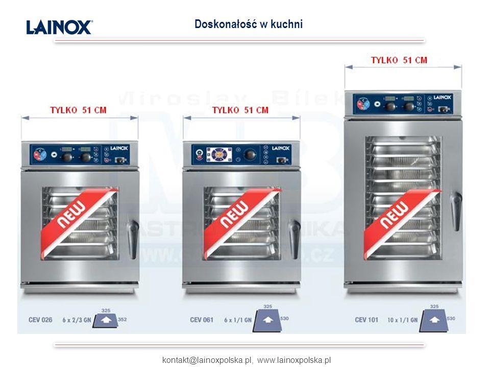 kontakt@lainoxpolska.pl, www.lainoxpolska.pl Doskonałość w kuchni Możliwość wyboru gotowania wielopoziomowego: a) na czas b) z wyznaczoną temperaturą c) Just In Time * (koniec gotowania na wszystkich półkach w tym samym czasie) * opatentowane przez Lainox GOTOWANIE WIELOPOZIOMOWE