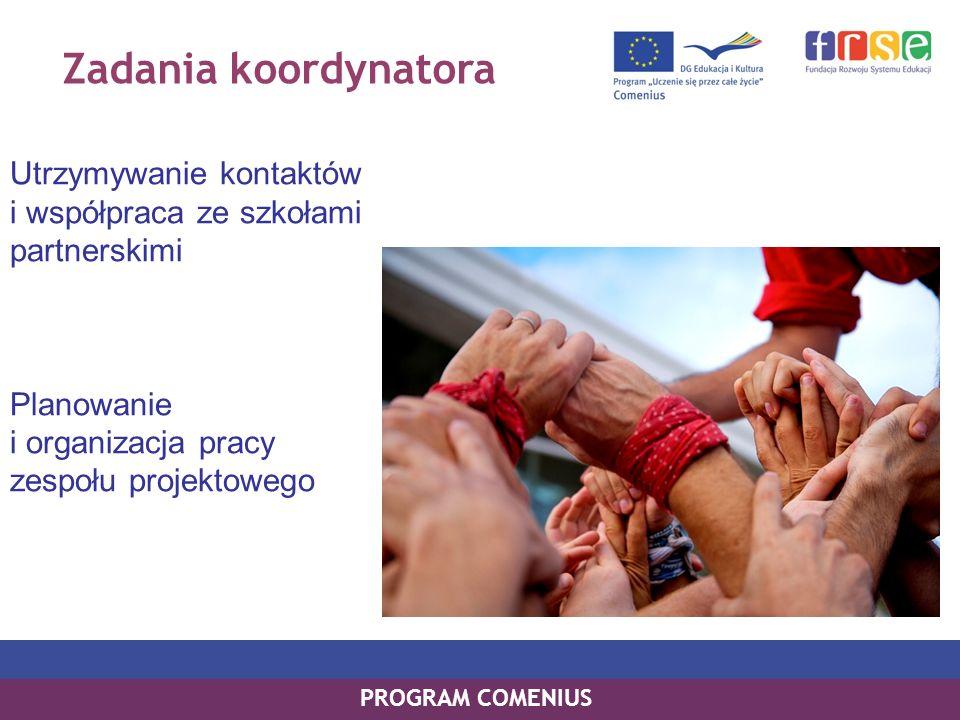 Zadania koordynatora Utrzymywanie kontaktów i współpraca ze szkołami partnerskimi Planowanie i organizacja pracy zespołu projektowego PROGRAM COMENIUS