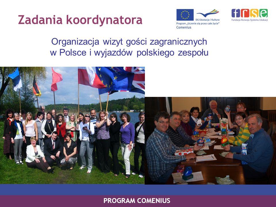 Zadania koordynatora Współpraca z rodzicami i ze środowiskiem lokalnym PROGRAM COMENIUS Organizowanie działań związanych z realizacją projektu (np.