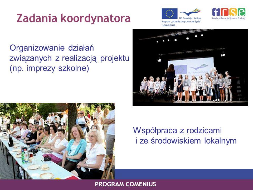 Zadania koordynatora Współpraca z rodzicami i ze środowiskiem lokalnym PROGRAM COMENIUS Organizowanie działań związanych z realizacją projektu (np. im