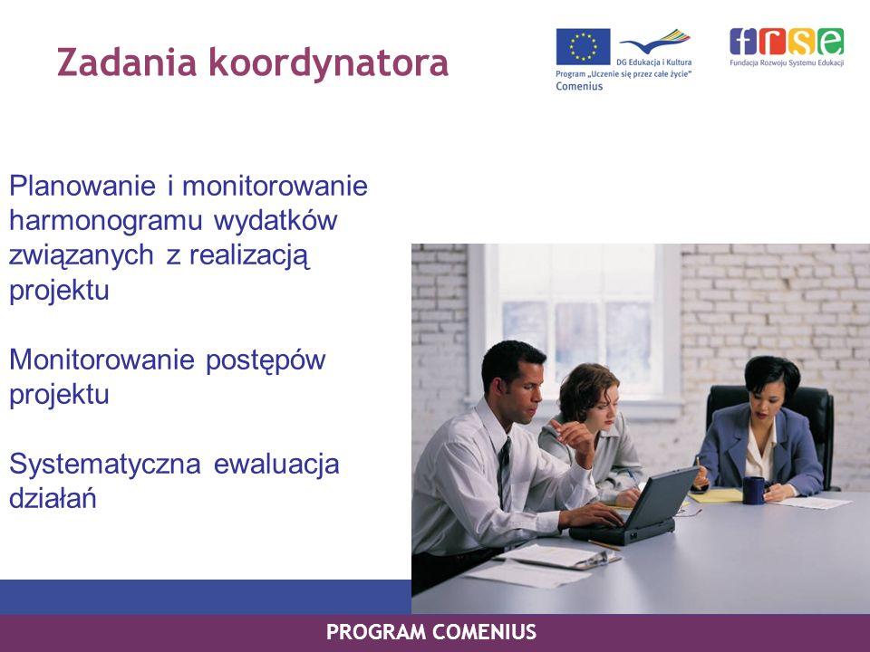 Zadania koordynatora Planowanie i monitorowanie harmonogramu wydatków związanych z realizacją projektu Monitorowanie postępów projektu Systematyczna e