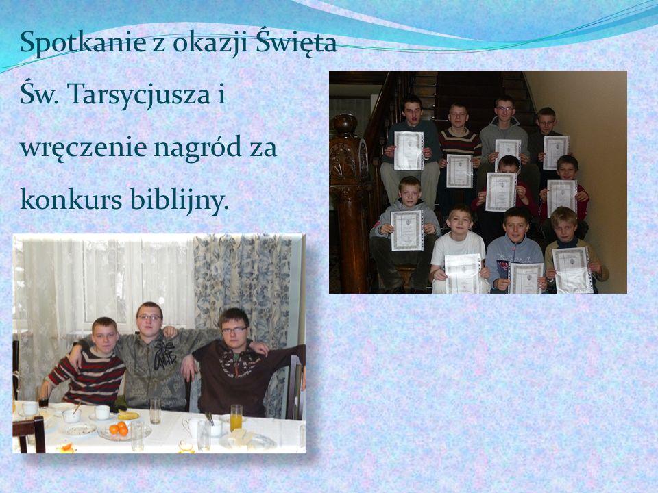 Spotkanie z okazji Święta Św. Tarsycjusza i wręczenie nagród za konkurs biblijny.