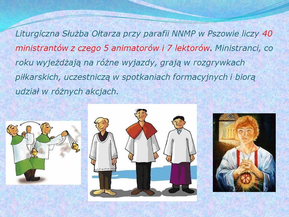 Liturgiczna Służba Ołtarza przy parafii NNMP w Pszowie liczy 40 ministrantów z czego 5 animatorów i 7 lektorów. Ministranci, co roku wyjeżdżają na róż