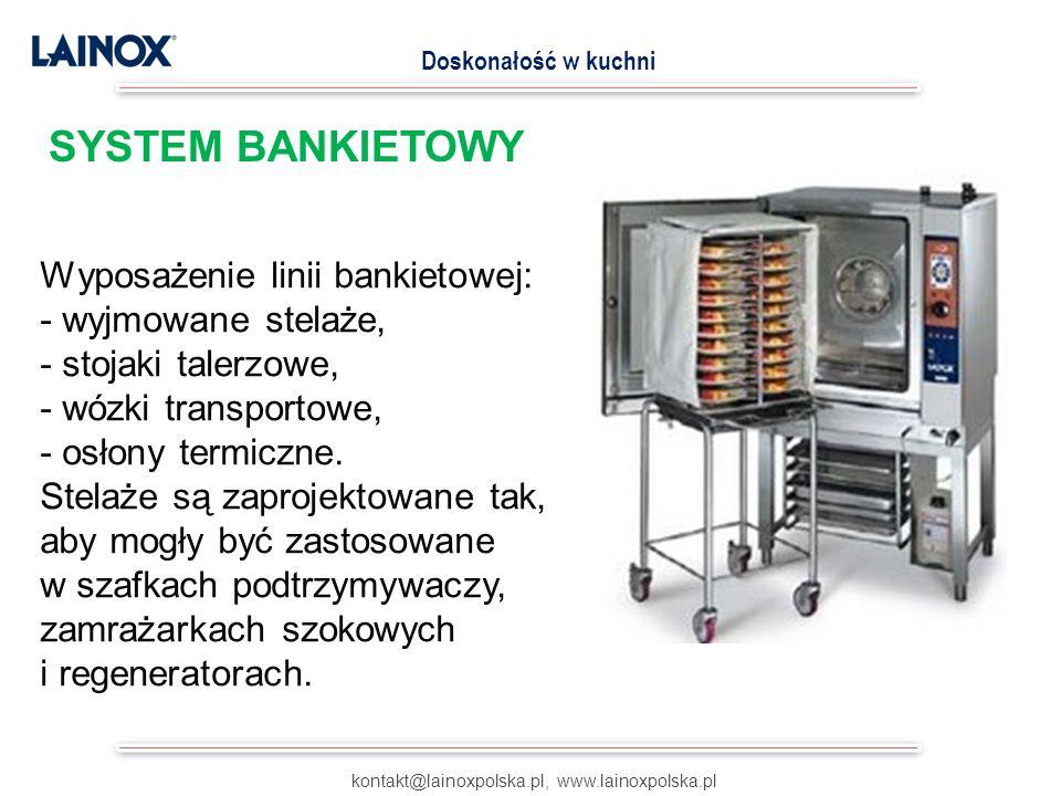 Wyposażenie linii bankietowej: - wyjmowane stelaże, - stojaki talerzowe, - wózki transportowe, - osłony termiczne. Stelaże są zaprojektowane tak, aby