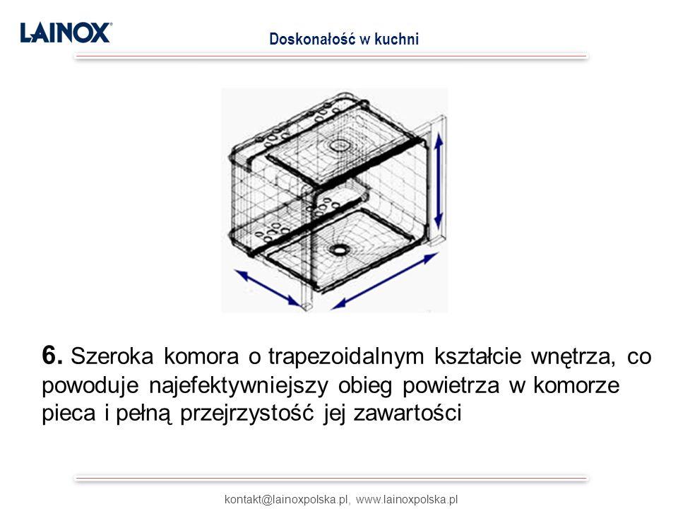 kontakt@lainoxpolska.pl, www.lainoxpolska.pl Doskonałość w kuchni 6. Szeroka komora o trapezoidalnym kształcie wnętrza, co powoduje najefektywniejszy