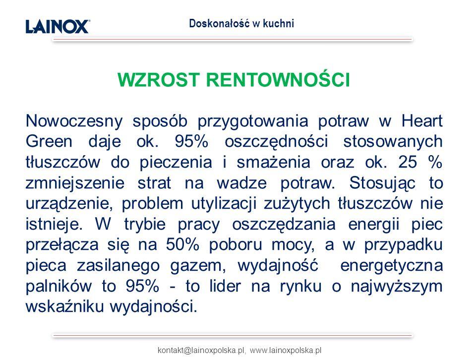 WZROST RENTOWNOŚCI kontakt@lainoxpolska.pl, www.lainoxpolska.pl Doskonałość w kuchni Nowoczesny sposób przygotowania potraw w Heart Green daje ok. 95%