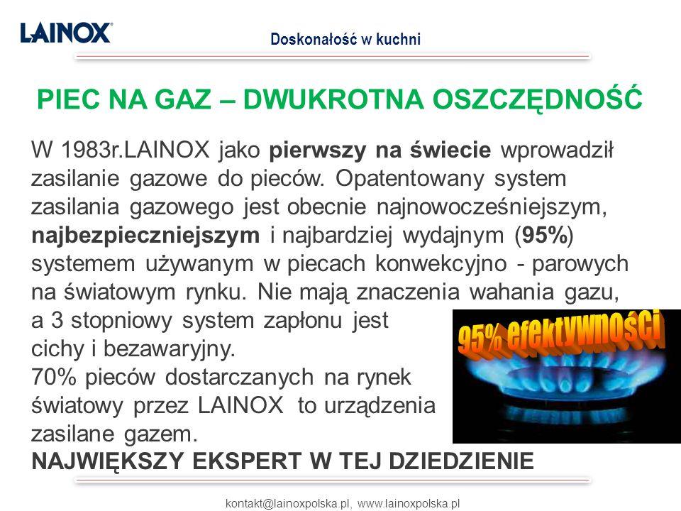 W 1983r.LAINOX jako pierwszy na świecie wprowadził zasilanie gazowe do pieców. Opatentowany system zasilania gazowego jest obecnie najnowocześniejszym
