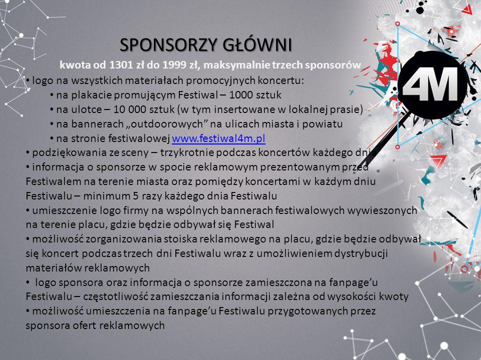 SPONSORZY GŁÓWNI kwota od 1301 zł do 1999 zł, maksymalnie trzech sponsorów logo na wszystkich materiałach promocyjnych koncertu: na plakacie promujący