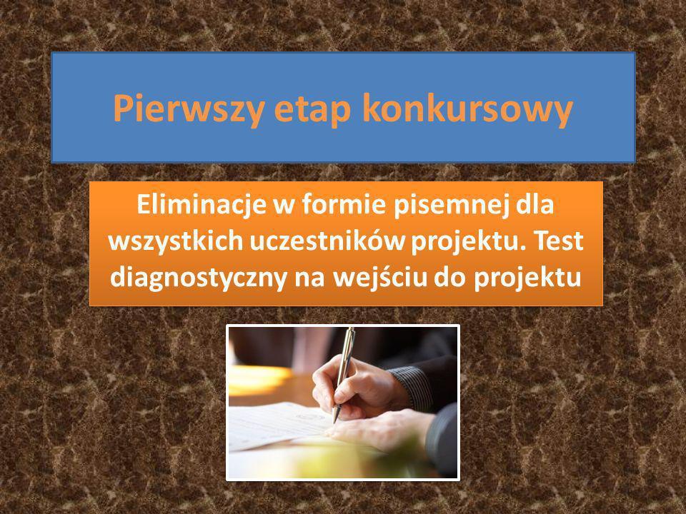 Pierwszy etap konkursowy Eliminacje w formie pisemnej dla wszystkich uczestników projektu.