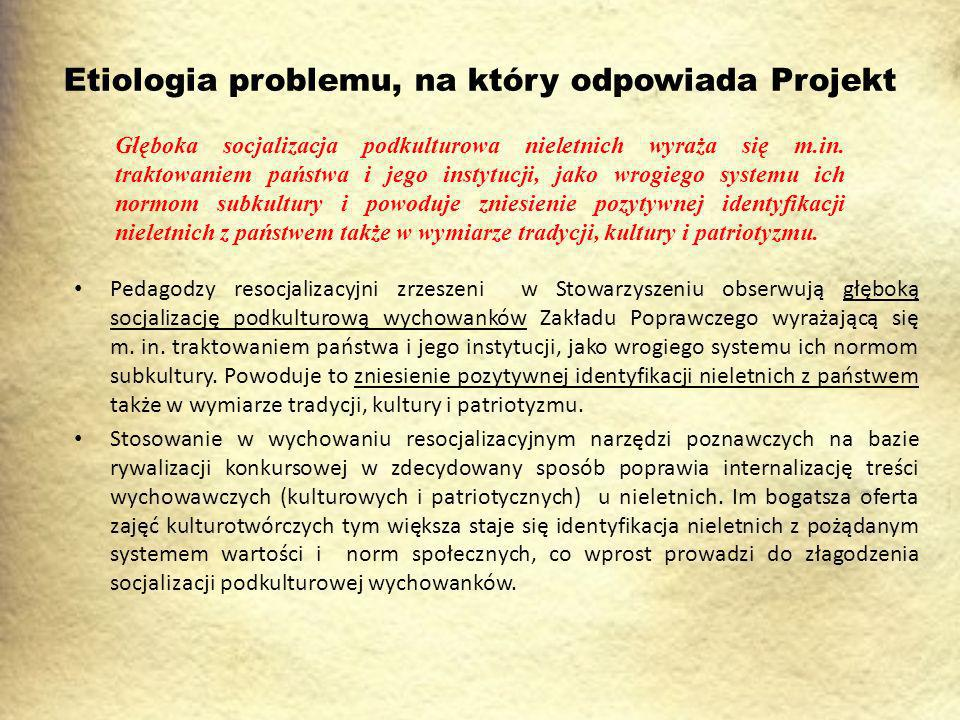 Etiologia problemu, na który odpowiada Projekt Pedagodzy resocjalizacyjni zrzeszeni w Stowarzyszeniu obserwują głęboką socjalizację podkulturową wychowanków Zakładu Poprawczego wyrażającą się m.