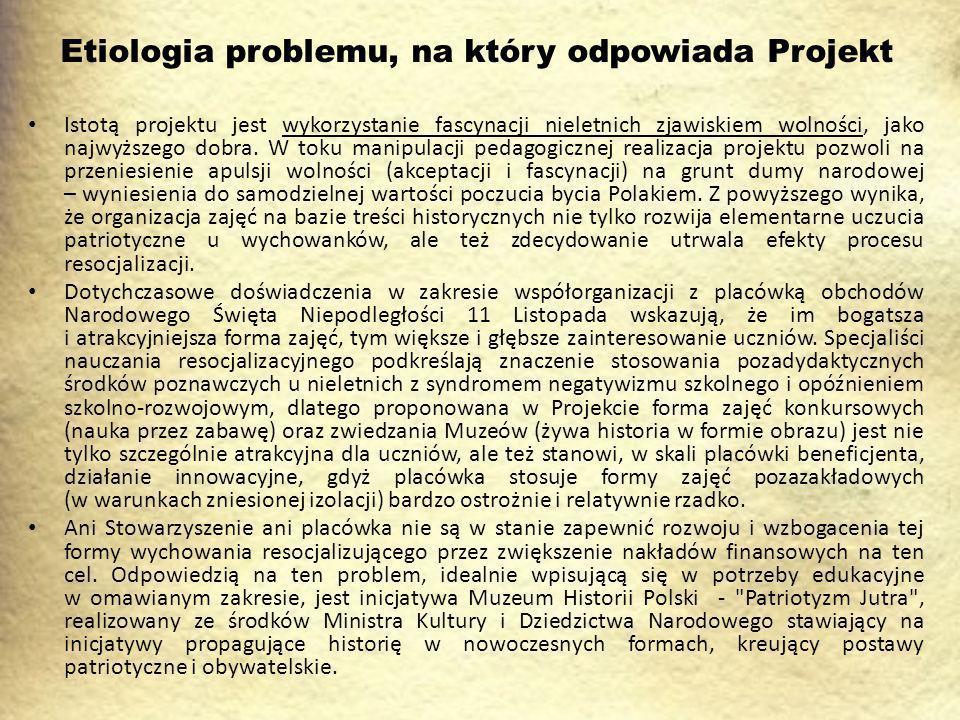 Etiologia problemu, na który odpowiada Projekt Istotą projektu jest wykorzystanie fascynacji nieletnich zjawiskiem wolności, jako najwyższego dobra.
