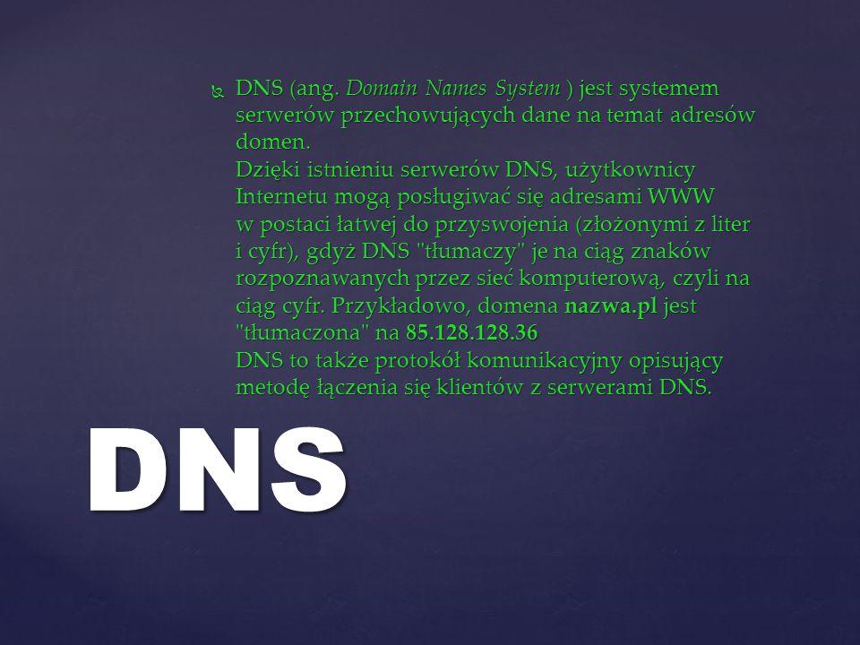 DNS (ang. Domain Names System ) jest systemem serwerów przechowujących dane na temat adresów domen. Dzięki istnieniu serwerów DNS, użytkownicy Interne