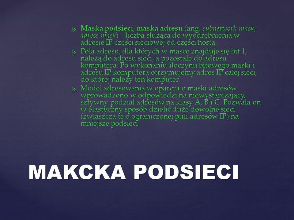 Maska podsieci, maska adresu (ang. subnetwork mask, adress mask) – liczba służąca do wyodrębnienia w adresie IP części sieciowej od części hosta. Mask
