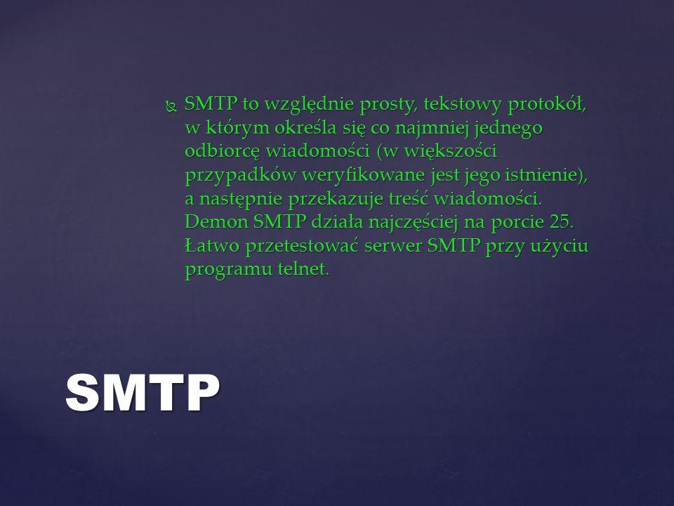 SMTP to względnie prosty, tekstowy protokół, w którym określa się co najmniej jednego odbiorcę wiadomości (w większości przypadków weryfikowane jest jego istnienie), a następnie przekazuje treść wiadomości.