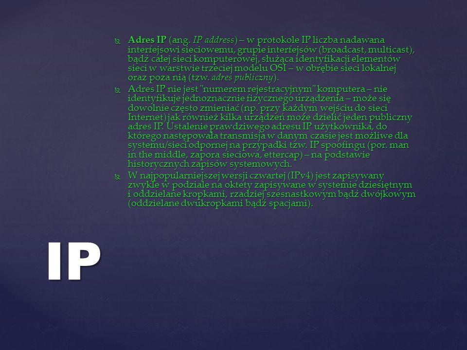 Adres IP (ang. IP address) – w protokole IP liczba nadawana interfejsowi sieciowemu, grupie interfejsów (broadcast, multicast), bądź całej sieci kompu