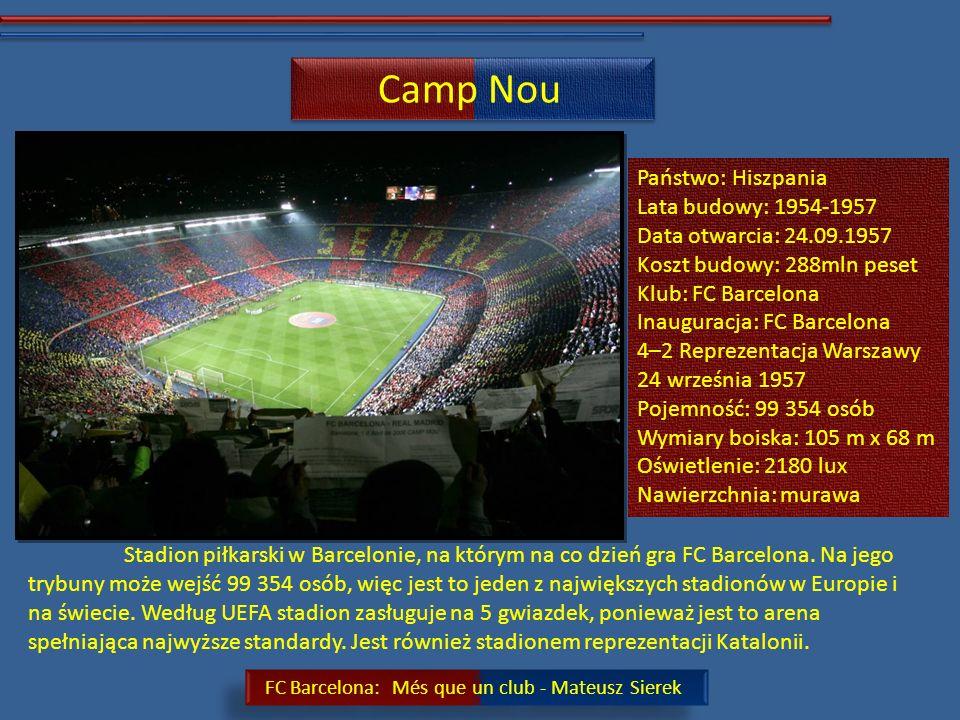 FC Barcelona: Més que un club - Mateusz Sierek FC Barcelona: Hiszpański klub sportowy założony w 1899r.
