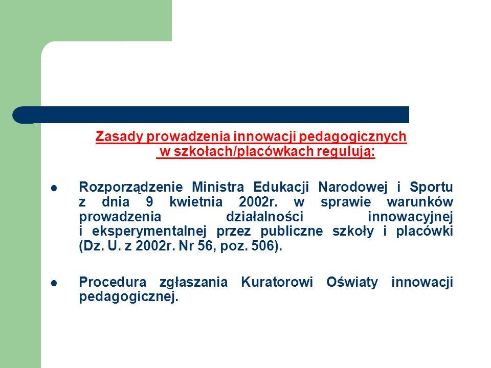 Zasady prowadzenia innowacji pedagogicznych w szkołach/placówkach regulują: Rozporządzenie Ministra Edukacji Narodowej i Sportu z dnia 9 kwietnia 2002