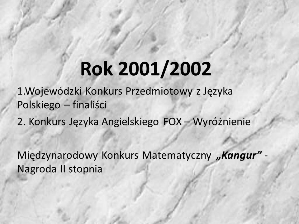 Rok 2002/2003 VI Ogólnopolski Konkurs na Pracę Literacką I miejsce oraz Wyróżnienie XII Ogólnopolski Konkurs Mój teatr – Łódź – Wyróżnienie Konkurs Grafiki Komputerowej Myszką jak pędzlem – I miejsce
