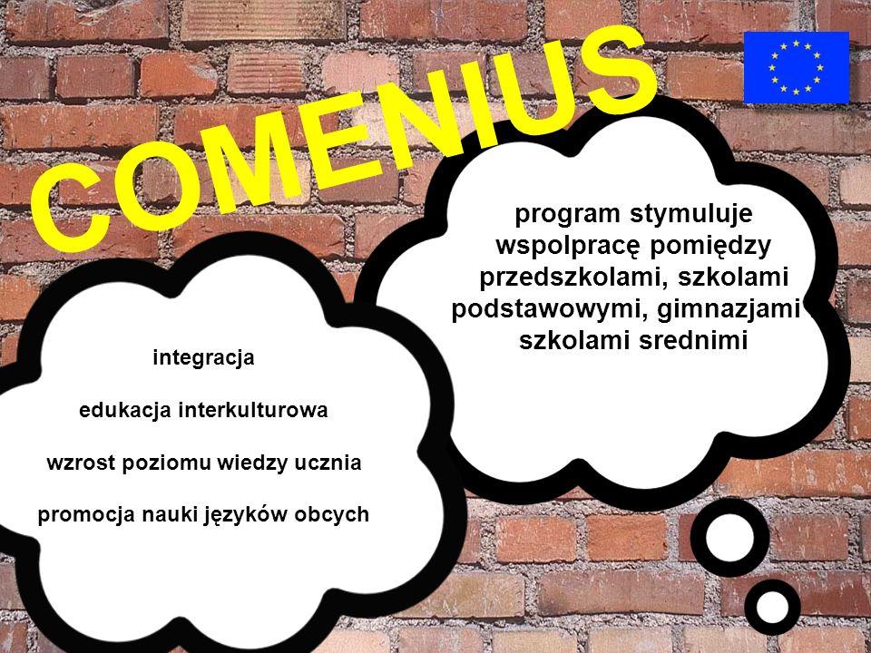 COMENIUS program stymuluje wspolpracę pomiędzy przedszkolami, szkolami podstawowymi, gimnazjami i szkolami srednimi Podnosi poziom wiedzy integracja e