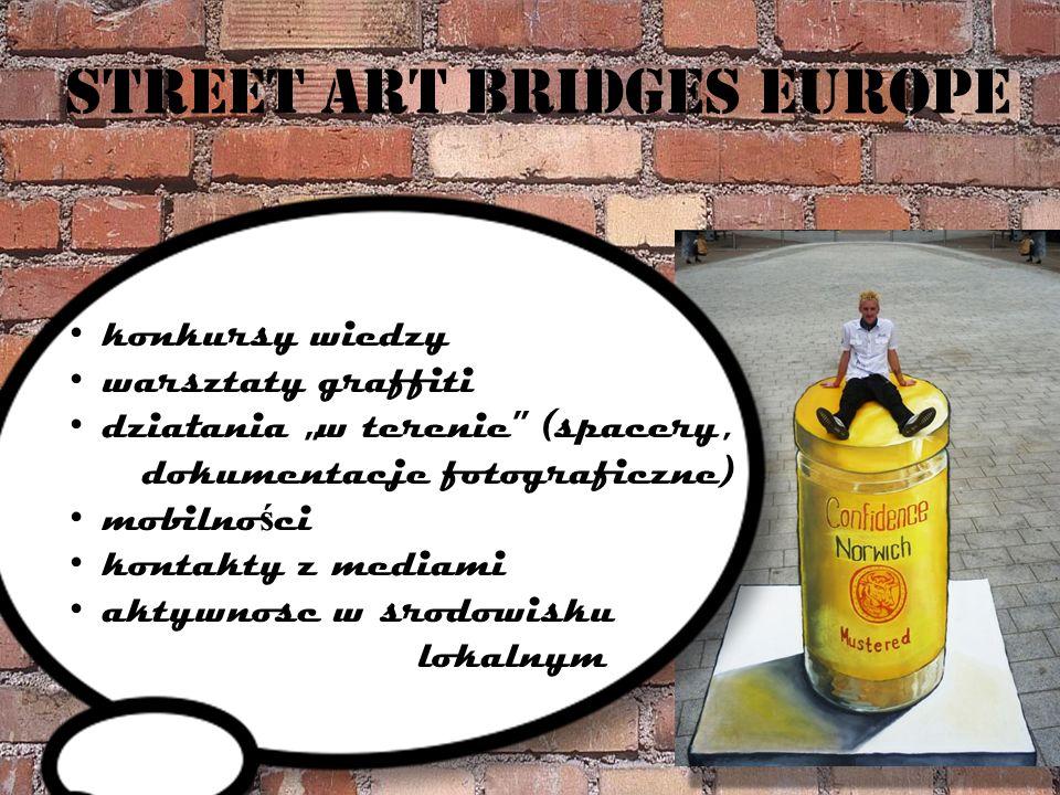 Street art bridges europe konkursy wiedzy warsztaty graffiti działania w terenie (spacery, dokumentacje fotograficzne) mobilno ś ci kontakty z mediami