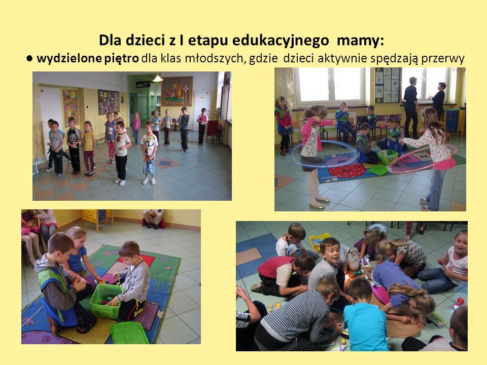 Dla dzieci z I etapu edukacyjnego mamy: wydzielone piętro dla klas młodszych, gdzie dzieci aktywnie spędzają przerwy