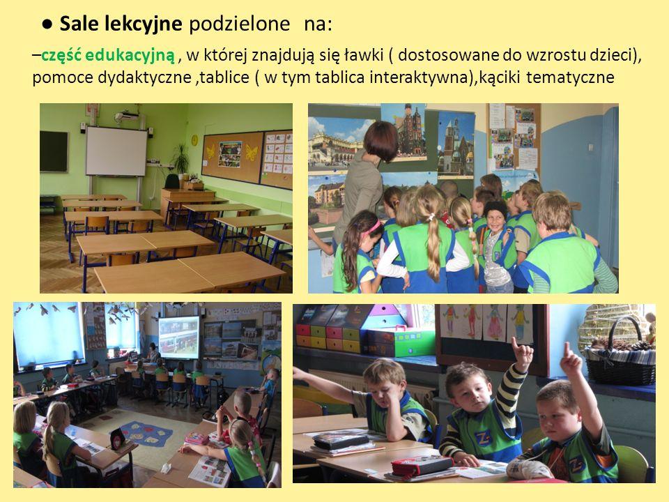 Sale lekcyjne podzielone na: –część edukacyjną, w której znajdują się ławki ( dostosowane do wzrostu dzieci), pomoce dydaktyczne,tablice ( w tym tabli