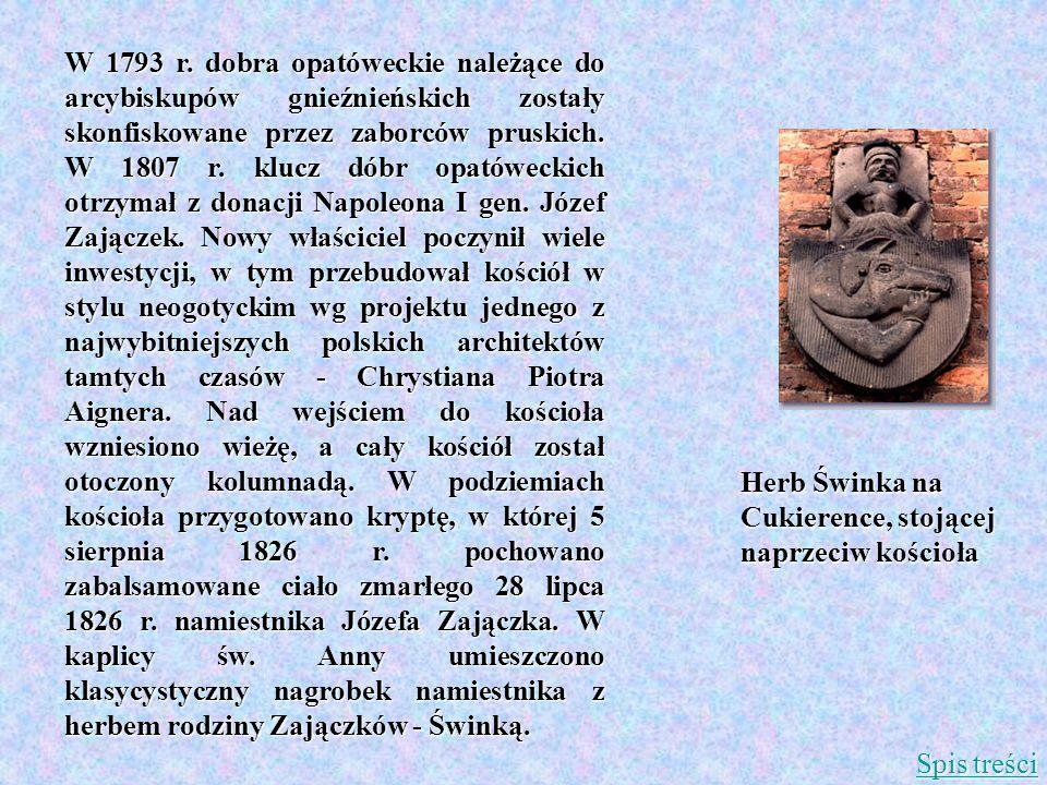 W 1793 r. dobra opatóweckie należące do arcybiskupów gnieźnieńskich zostały skonfiskowane przez zaborców pruskich. W 1807 r. klucz dóbr opatóweckich o