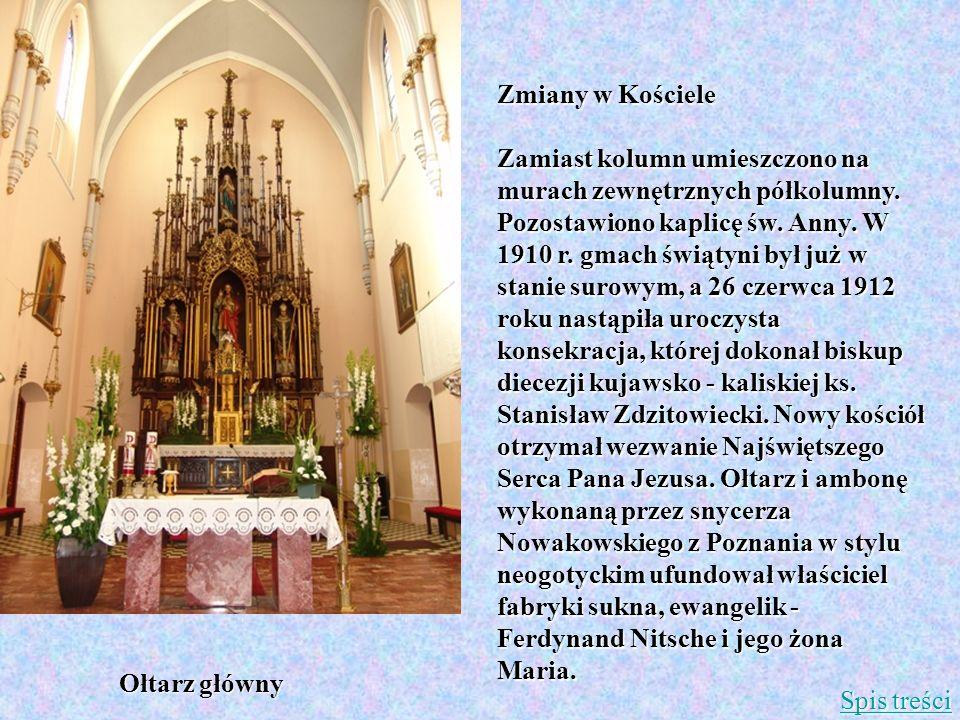 Zmiany w Kościele Zamiast kolumn umieszczono na murach zewnętrznych półkolumny. Pozostawiono kaplicę św. Anny. W 1910 r. gmach świątyni był już w stan