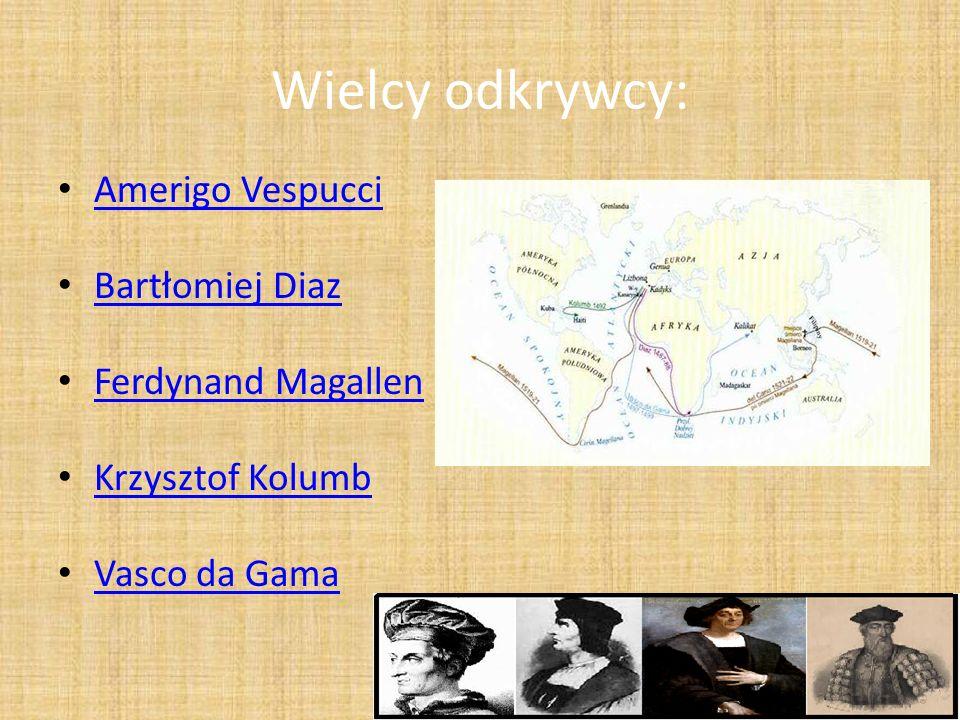 Wielcy odkrywcy: Amerigo Vespucci Bartłomiej Diaz Ferdynand Magallen Krzysztof Kolumb Vasco da Gama
