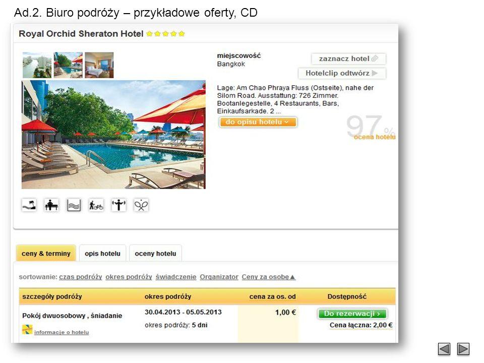Ad.2. Biuro podróży – przykładowe oferty, CD