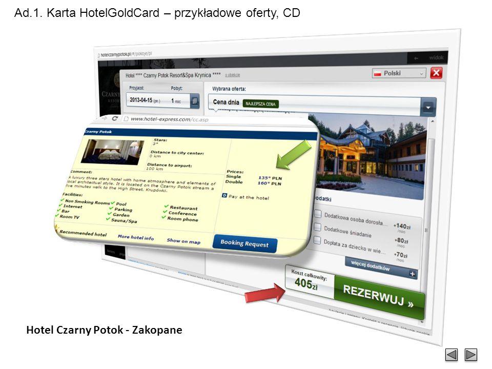 Ad.1. Karta HotelGoldCard – przykładowe oferty, CD Hotel Fort - Warszawa