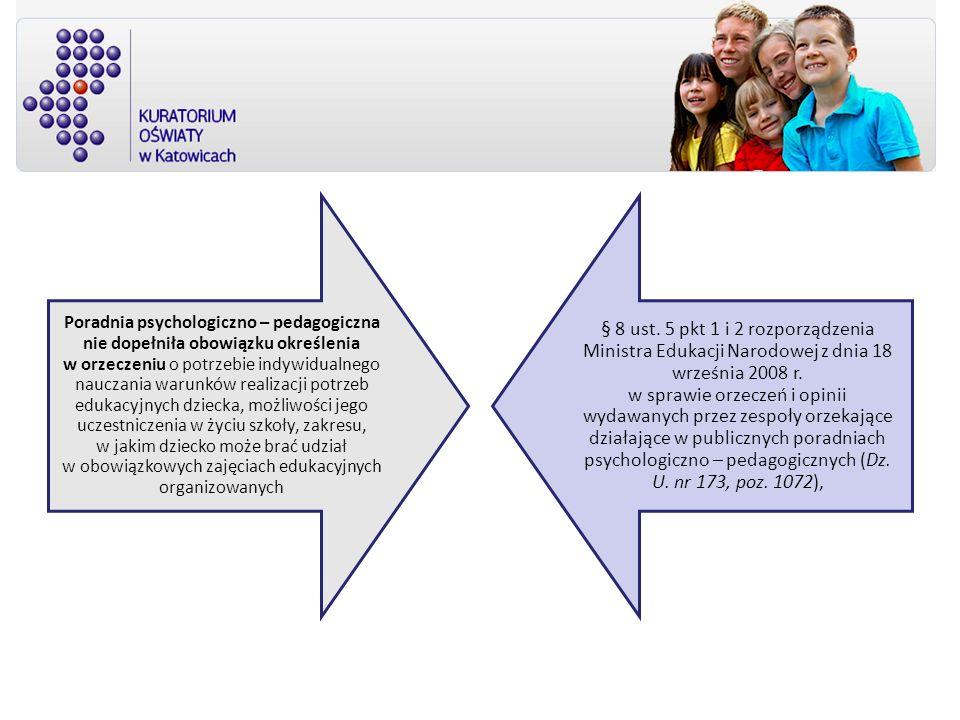 Poradnia psychologiczno – pedagogiczna nie dopełniła obowiązku określenia w orzeczeniu o potrzebie indywidualnego nauczania warunków realizacji potrze