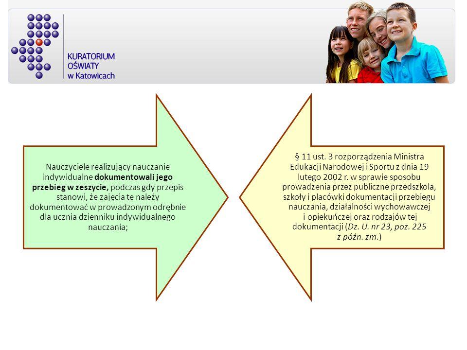 Nauczyciele realizujący nauczanie indywidualne dokumentowali jego przebieg w zeszycie, podczas gdy przepis stanowi, że zajęcia te należy dokumentować