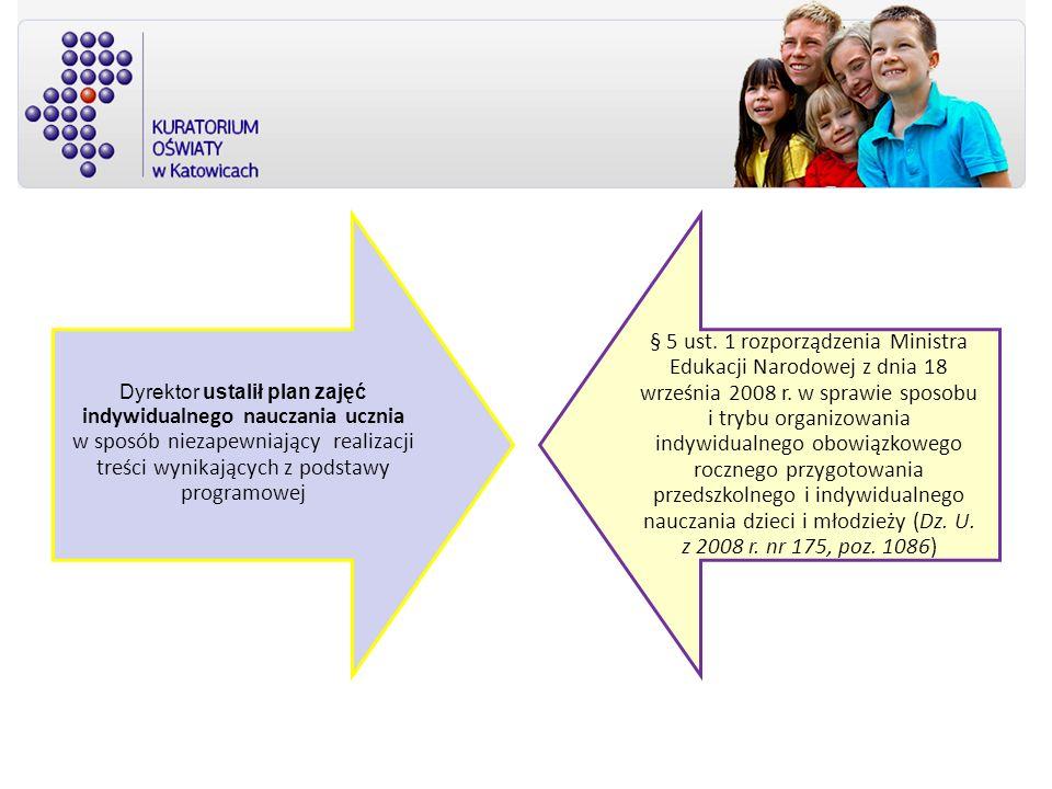 Dyrektor ustalił plan zajęć indywidualnego nauczania ucznia w sposób niezapewniający realizacji treści wynikających z podstawy programowej § 5 ust. 1