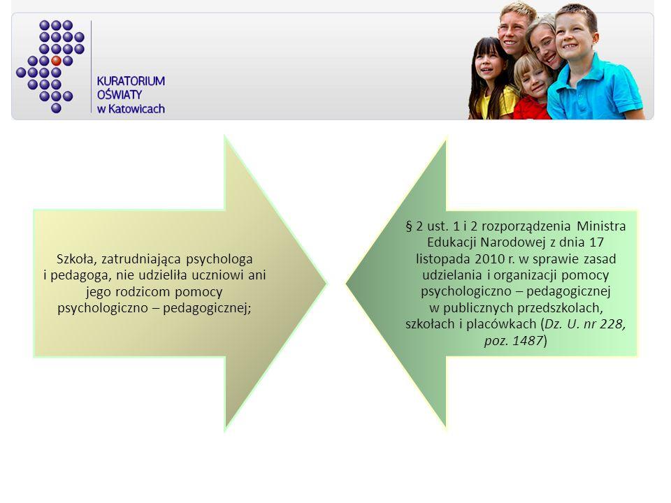 Szkoła, zatrudniająca psychologa i pedagoga, nie udzieliła uczniowi ani jego rodzicom pomocy psychologiczno – pedagogicznej; § 2 ust. 1 i 2 rozporządz